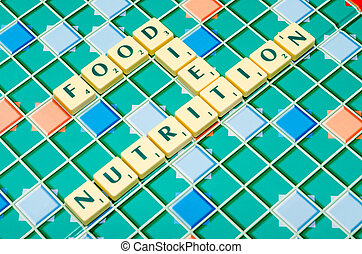 Nutrition Food And Diet Words On A Game Board