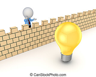 3d small person behind the wall and idea symbolIsolated on...