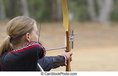 adolescente, niña, tiro al arco