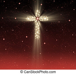 christian cross in stars