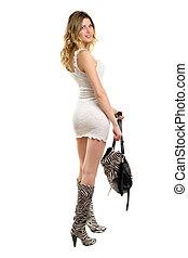 Blonde in short white dress