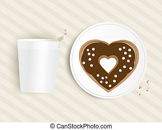 Heart shaped chocolate doughnut with a cup