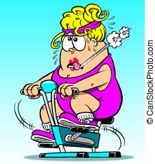 Chubby lady - cartoon chubby lady on exercise bike.