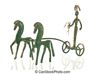 Greek Chariot - Greek war chariot with horses isolated over...