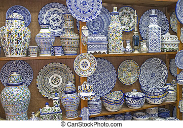 Pottery - Traditional blue and white pottery for sale in a...