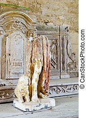 Interior church in Oradour sur Glane - Destroyed church in...