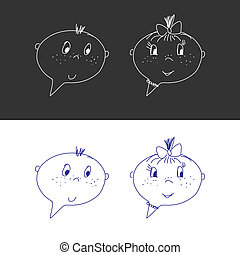 Hand Drawn Faces. Boy And Girl. Speech Bubble Like. Cartoon Style. Isolated. Vector Illustration