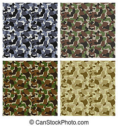 Set Of Classic Camouflage Seamless Patterns. Original...