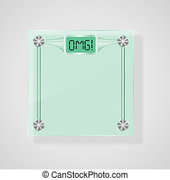 Transparent Glass Scales With OMG! Text. Weight Loss Concept. Vector, eps10