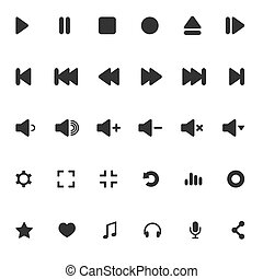 Media Player Icons Set. Multimedia. Isolated. Vector...