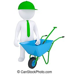 3d white man with a wheelbarrow