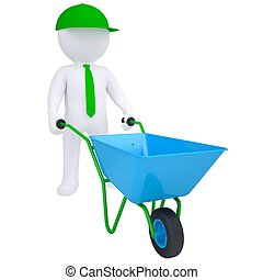 3d white man with a wheelbarrow. Isolated render on a white...