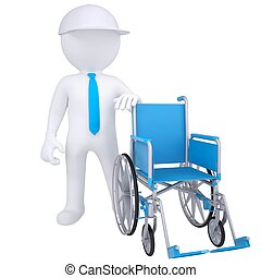 3d white man and wheelchair - 3d white man got rid of the...