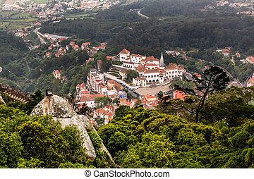 Aerial View on Sintra National Palace from Murish Castle near Lisbon in Portugal