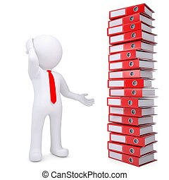 3d white man next to stack of office folders - 3d white man...