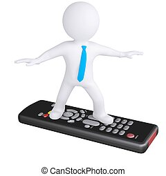3d white man standing on the remote Isolated render on a...