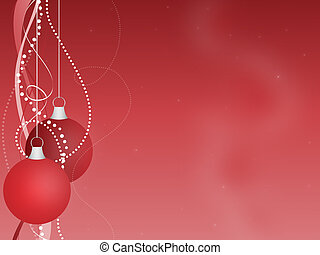 Red Christmas Ornaments Background - Graphic illustration of...