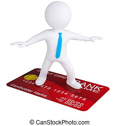3d white man standing on a credit card Isolated render on a...