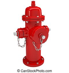 Red fire hydrant Isolated render on a white background