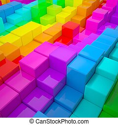 Abstract wall of colored cubes. 3d render