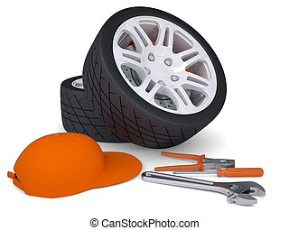 Car wheel and tools. Isolated render on a white background