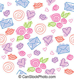 romantic pattern - cute romantic pattern with roses, hearts...