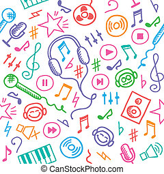 music pattern - funny hand drawn seamless pattern with music...