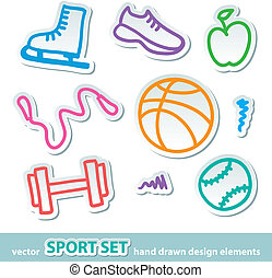 hand drawn sport stickers - set of hand drawn sport symbols...