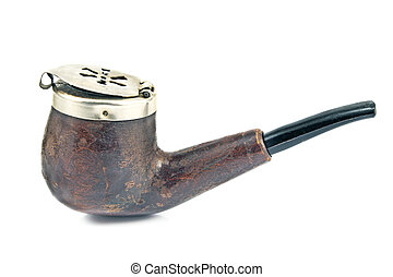 Old tobacco pipe with metal lid isolated on white