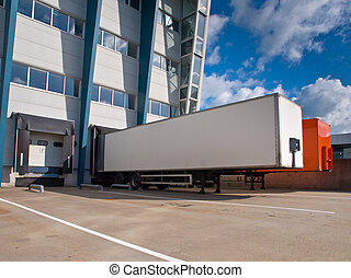 Distribution Center with Trailers Export concept - Red and...