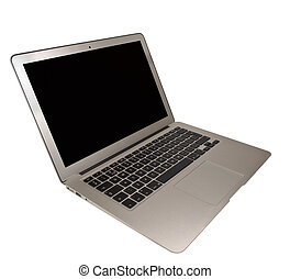 Modern Slim Laptop on White Background - Neat Cut Modern...