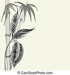 Palm tree over bamboo forest Vector illustration