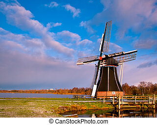 Wind Mill Netherlands - Dutch Windmill on the Waterfront of...