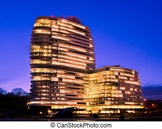 Office Blue Hour - Long Working Hours in a Tall Modern...