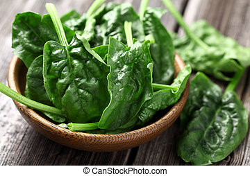 espinafre, folhas, madeira, prato