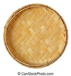 Bamboo mini basket isolated on white