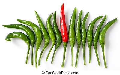 Be Different - Outstanding red pepper among green pepper...