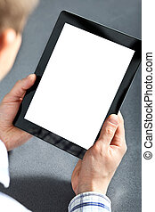 man holding a touchpad - man holding in hands a touchpad