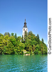 Bled Island with Pilgrimage Church of the Assumption of Mary...