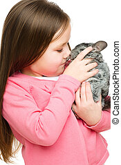 Little girl with chinchilla - Portrait of a little girl with...