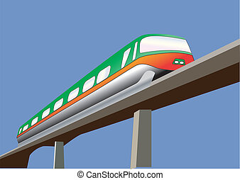 Monorail - A Green and Orange Monorail Train on a bridge