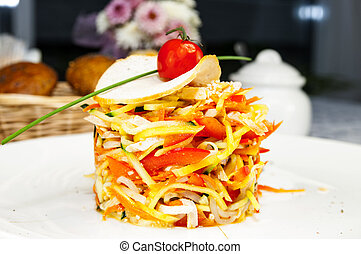 cabbage salad and vegetables in a restaurant