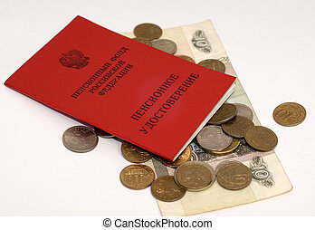 Money and pension sertificate - Some ruble coins and pension...