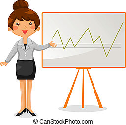 buisness woman - business woman presenting a chart on the...