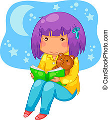 bedtime story - little girl reading a book at night