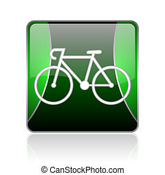 bicycle black and green square web glossy icon - black and...
