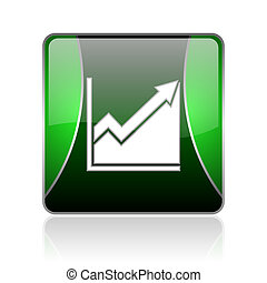 histogram black and green square web glossy icon - black and...