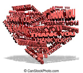 Thank you from heart - Shape of a heart made from words...