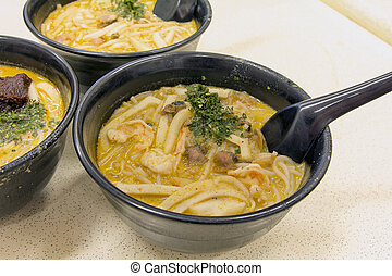 Singapore Curry Laksa Noodles with Prawns Fishcake and...