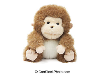 Soft Toy Baby Monkey on White Background
